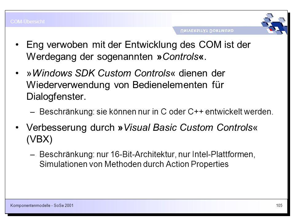 Komponentenmodelle - SoSe 2001105 Eng verwoben mit der Entwicklung des COM ist der Werdegang der sogenannten »Controls«. »Windows SDK Custom Controls«