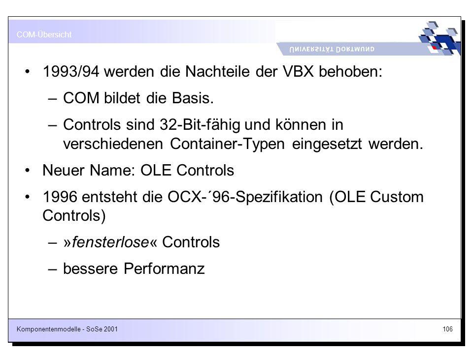 Komponentenmodelle - SoSe 2001106 1993/94 werden die Nachteile der VBX behoben: –COM bildet die Basis. –Controls sind 32-Bit-fähig und können in versc