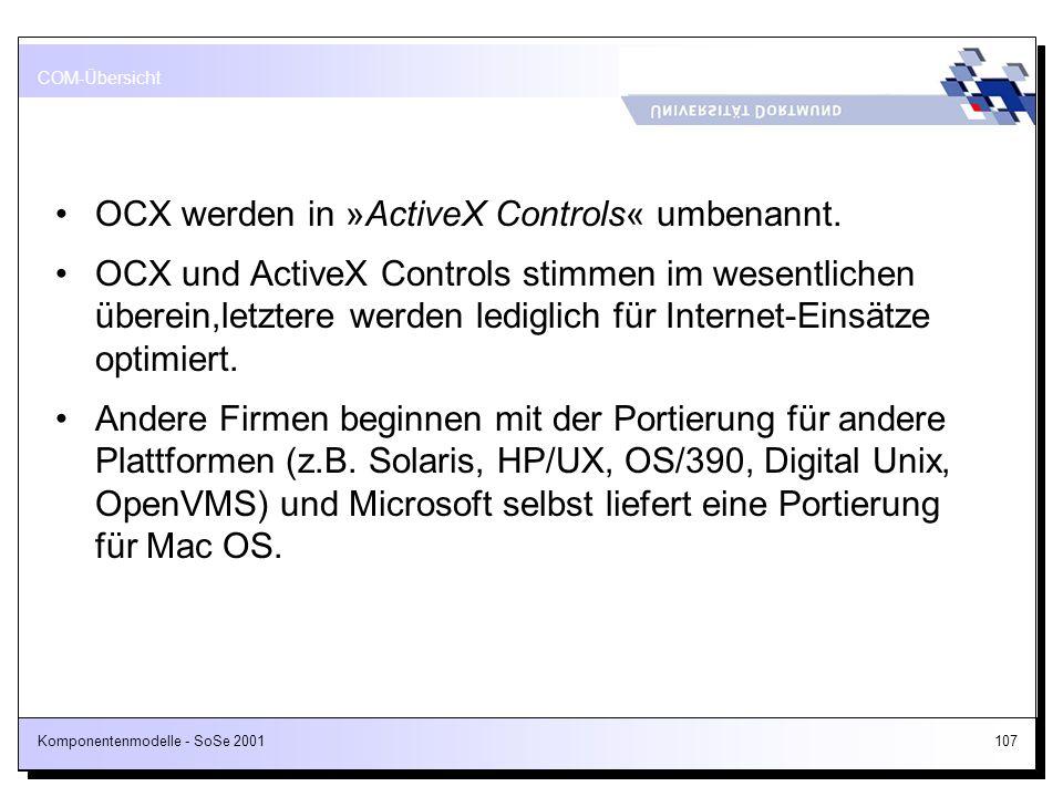 Komponentenmodelle - SoSe 2001107 OCX werden in »ActiveX Controls« umbenannt. OCX und ActiveX Controls stimmen im wesentlichen überein,letztere werden