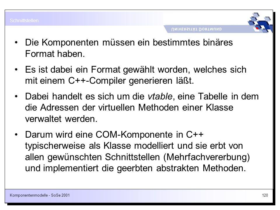 Komponentenmodelle - SoSe 2001120 Die Komponenten müssen ein bestimmtes binäres Format haben. Es ist dabei ein Format gewählt worden, welches sich mit