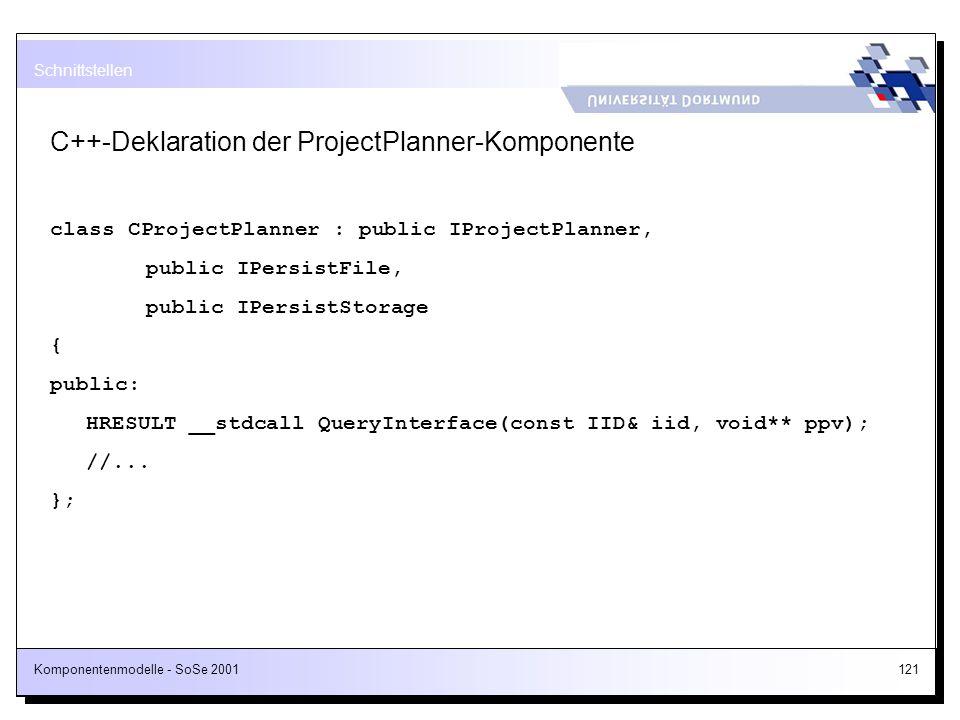 Komponentenmodelle - SoSe 2001121 C++-Deklaration der ProjectPlanner-Komponente class CProjectPlanner : public IProjectPlanner, public IPersistFile, p
