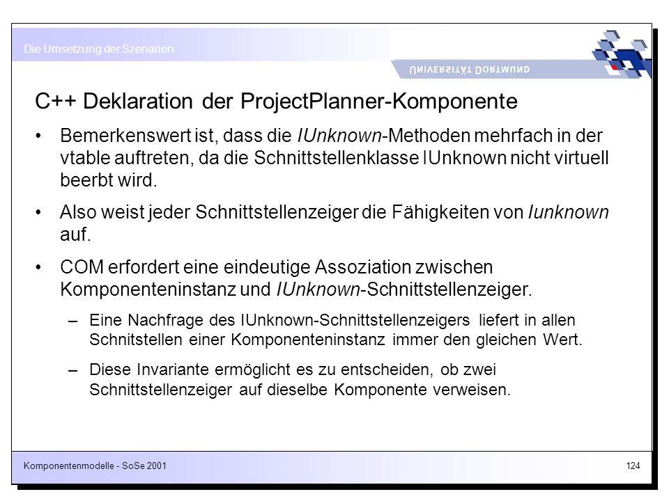 Komponentenmodelle - SoSe 2001124 C++ Deklaration der ProjectPlanner-Komponente Bemerkenswert ist, dass die IUnknown-Methoden mehrfach in der vtable a