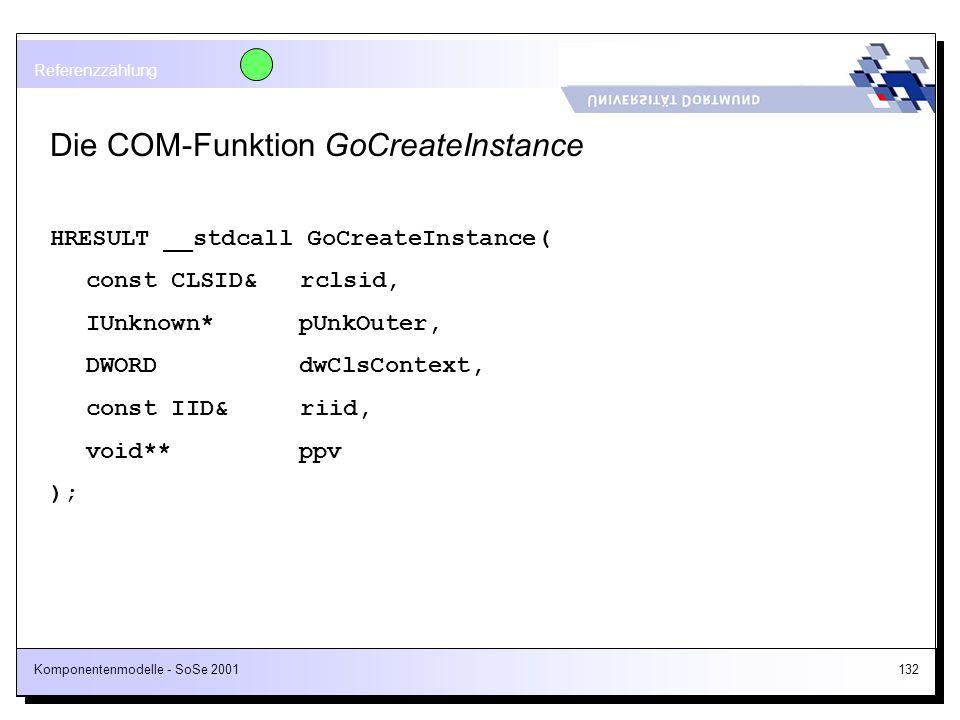Komponentenmodelle - SoSe 2001132 Die COM-Funktion GoCreateInstance HRESULT __stdcall GoCreateInstance( const CLSID& rclsid, IUnknown* pUnkOuter, DWOR