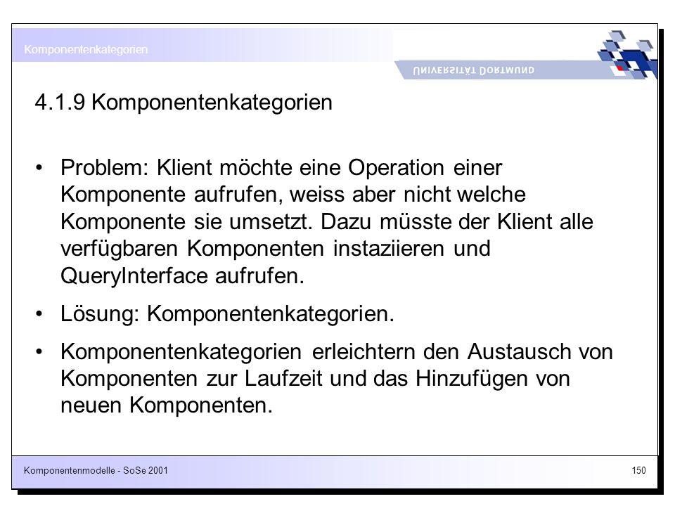 Komponentenmodelle - SoSe 2001150 4.1.9 Komponentenkategorien Problem: Klient möchte eine Operation einer Komponente aufrufen, weiss aber nicht welche