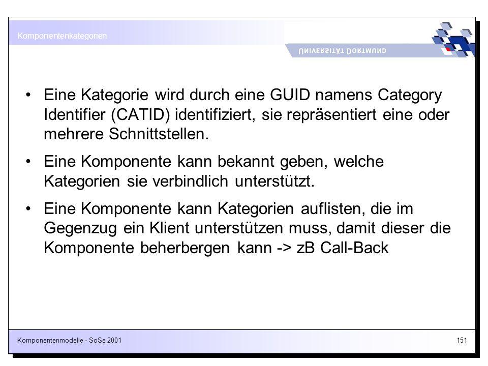 Komponentenmodelle - SoSe 2001151 Eine Kategorie wird durch eine GUID namens Category Identifier (CATID) identifiziert, sie repräsentiert eine oder me