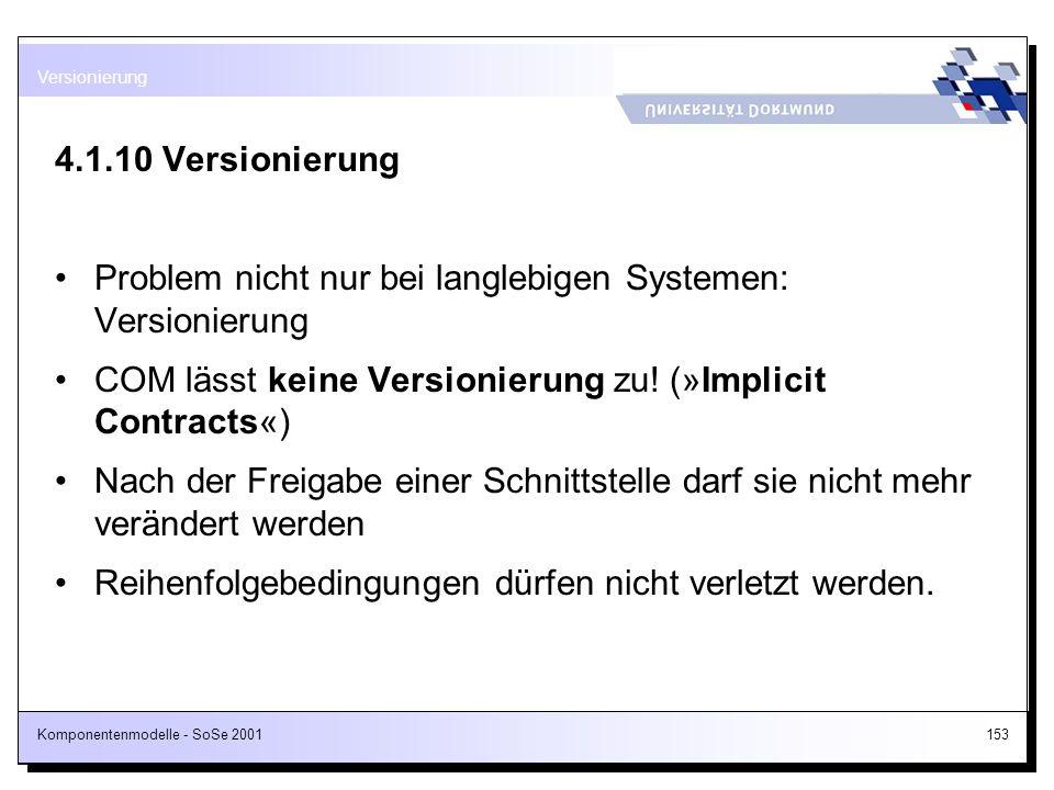 Komponentenmodelle - SoSe 2001153 4.1.10 Versionierung Problem nicht nur bei langlebigen Systemen: Versionierung COM lässt keine Versionierung zu! (»I
