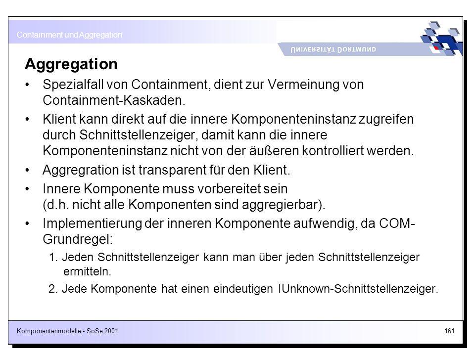Komponentenmodelle - SoSe 2001161 Aggregation Spezialfall von Containment, dient zur Vermeinung von Containment-Kaskaden. Klient kann direkt auf die i