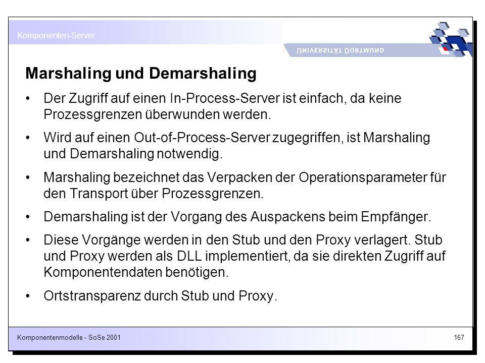 Komponentenmodelle - SoSe 2001167 Marshaling und Demarshaling Der Zugriff auf einen In-Process-Server ist einfach, da keine Prozessgrenzen überwunden