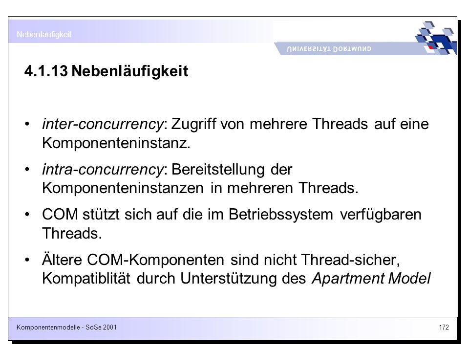 Komponentenmodelle - SoSe 2001172 4.1.13Nebenläufigkeit inter-concurrency: Zugriff von mehrere Threads auf eine Komponenteninstanz. intra-concurrency:
