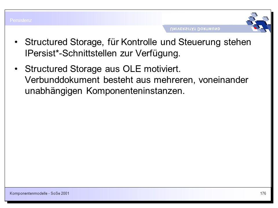 Komponentenmodelle - SoSe 2001176 Structured Storage, für Kontrolle und Steuerung stehen IPersist*-Schnittstellen zur Verfügung. Structured Storage au