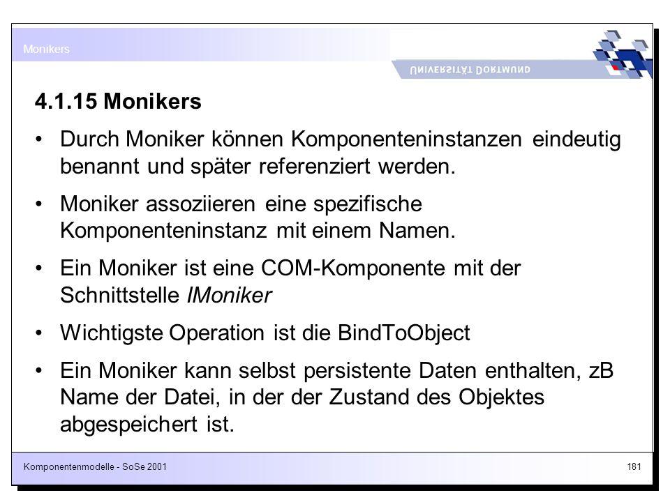 Komponentenmodelle - SoSe 2001181 4.1.15 Monikers Durch Moniker können Komponenteninstanzen eindeutig benannt und später referenziert werden. Moniker