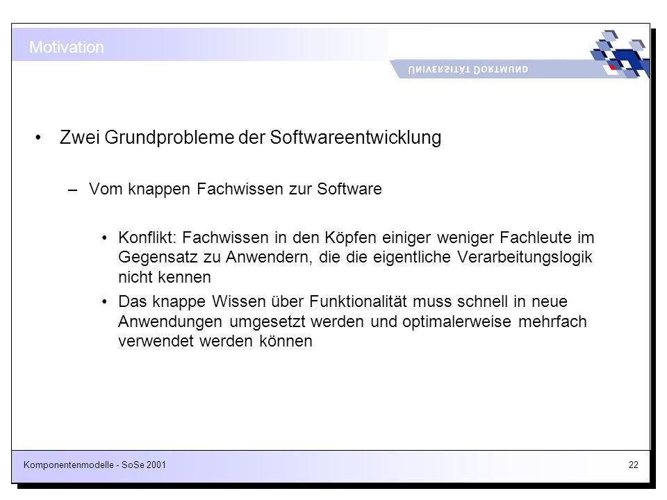 Komponentenmodelle - SoSe 200122 Motivation Zwei Grundprobleme der Softwareentwicklung –Vom knappen Fachwissen zur Software Konflikt: Fachwissen in de