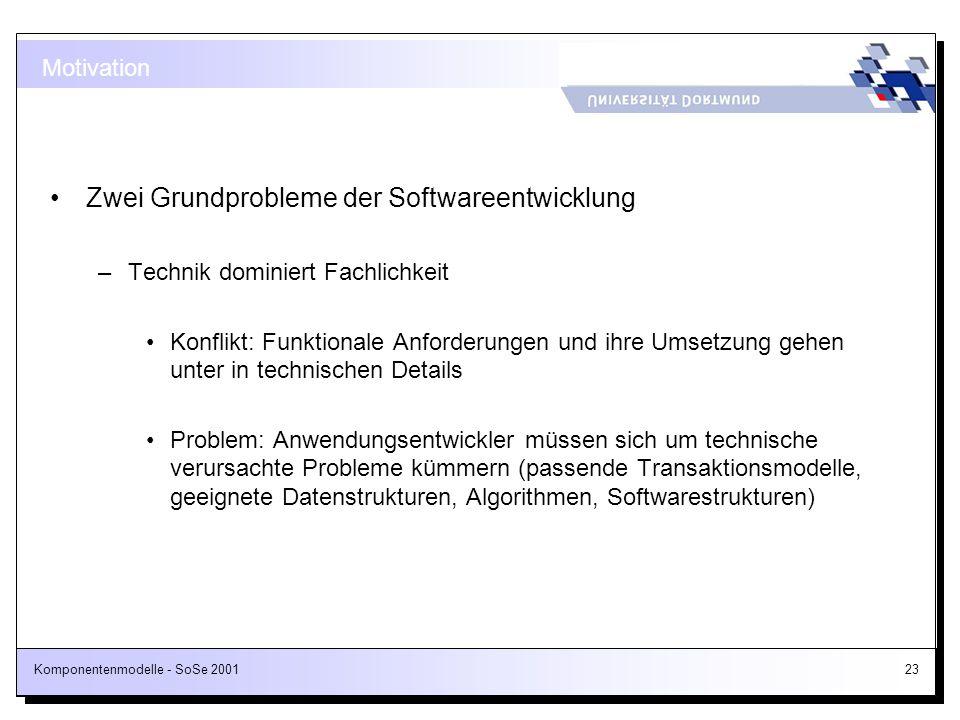 Komponentenmodelle - SoSe 200123 Motivation Zwei Grundprobleme der Softwareentwicklung –Technik dominiert Fachlichkeit Konflikt: Funktionale Anforderu