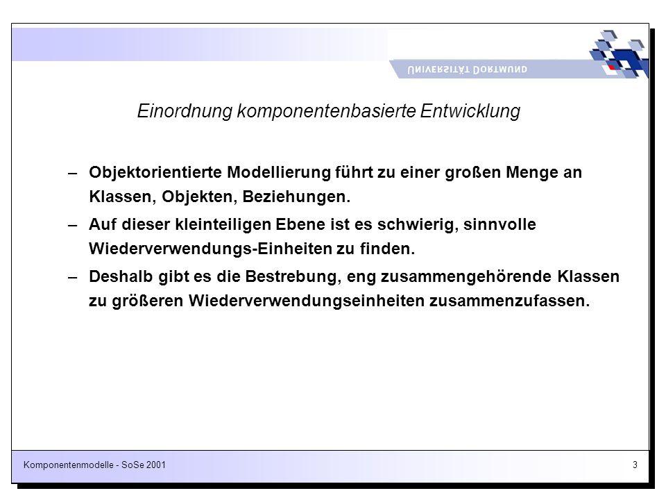 Komponentenmodelle - SoSe 200154 Motivation Unterscheidung von Client-Komponenten / Server-Komponenten Client-Komponenten realisieren Benutzungsoberflächen Server-Komponenten realisieren die Geschäftsobjekte Direktgeschäft Außendienst Innendienst Web Browser und Applets Java Anwendung Web Server Applikationsserver mit Geschäftsobjekten (GO) GO
