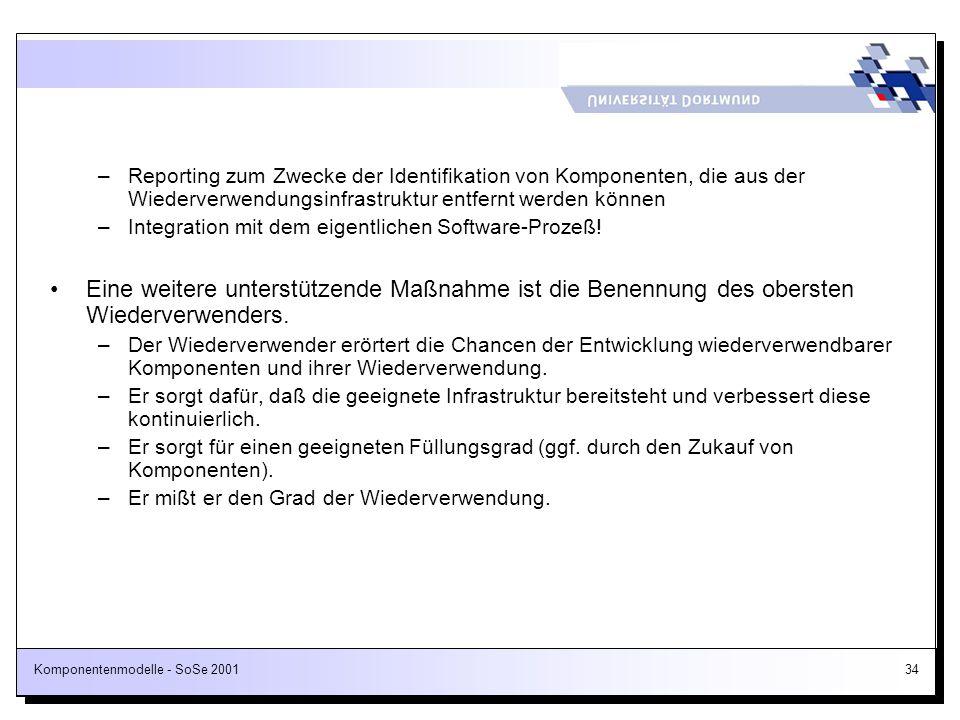 Komponentenmodelle - SoSe 200134 –Reporting zum Zwecke der Identifikation von Komponenten, die aus der Wiederverwendungsinfrastruktur entfernt werden