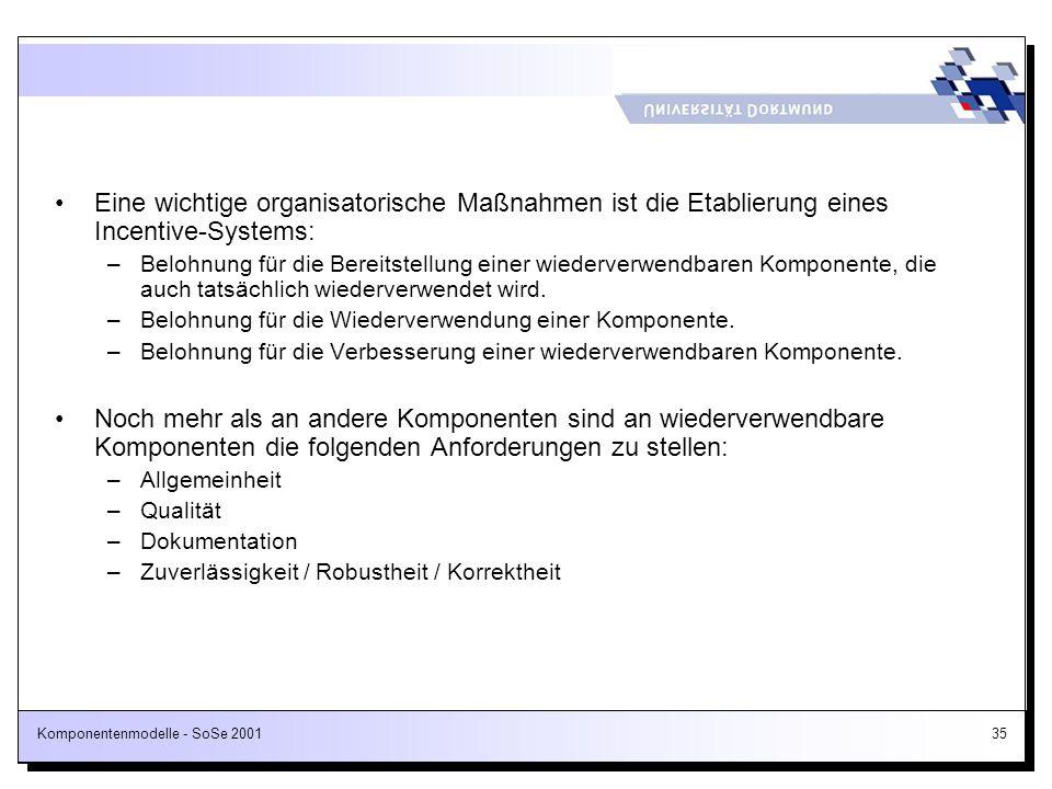 Komponentenmodelle - SoSe 200135 Eine wichtige organisatorische Maßnahmen ist die Etablierung eines Incentive-Systems: –Belohnung für die Bereitstellu
