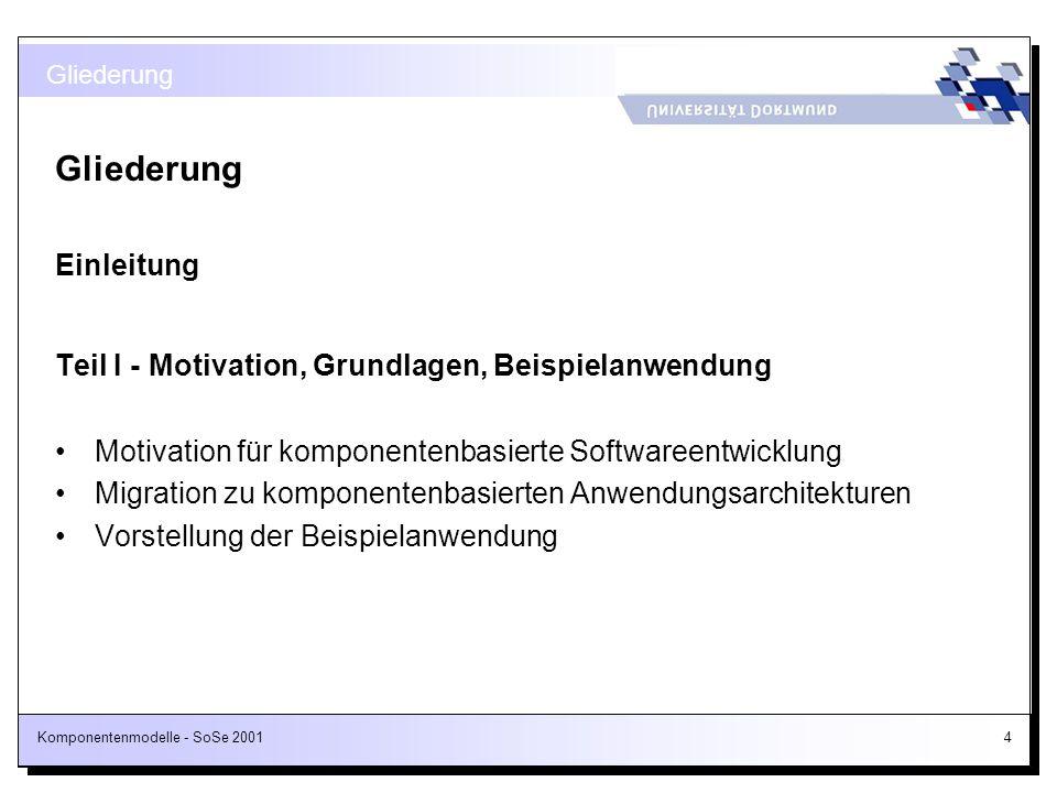 Komponentenmodelle - SoSe 20014 Gliederung Einleitung Teil I - Motivation, Grundlagen, Beispielanwendung Motivation für komponentenbasierte Softwareen