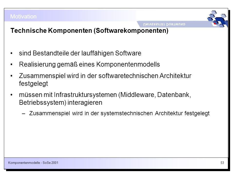 Komponentenmodelle - SoSe 200153 Motivation Technische Komponenten (Softwarekomponenten) sind Bestandteile der lauffähigen Software Realisierung gemäß
