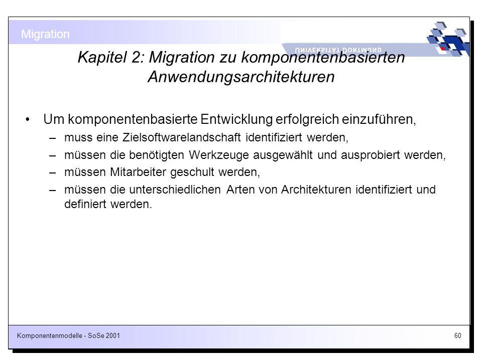 Komponentenmodelle - SoSe 200160 Kapitel 2: Migration zu komponentenbasierten Anwendungsarchitekturen Um komponentenbasierte Entwicklung erfolgreich e