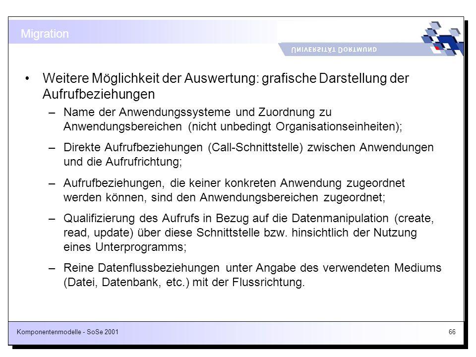 Komponentenmodelle - SoSe 200166 Weitere Möglichkeit der Auswertung: grafische Darstellung der Aufrufbeziehungen –Name der Anwendungssysteme und Zuord