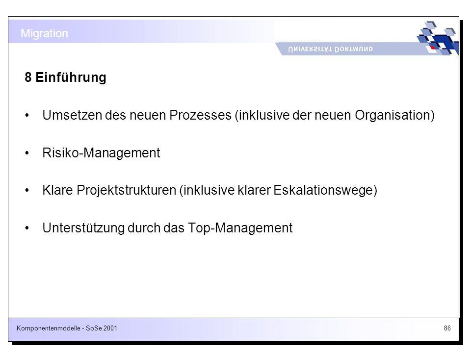 Komponentenmodelle - SoSe 200186 8 Einführung Umsetzen des neuen Prozesses (inklusive der neuen Organisation) Risiko-Management Klare Projektstrukture