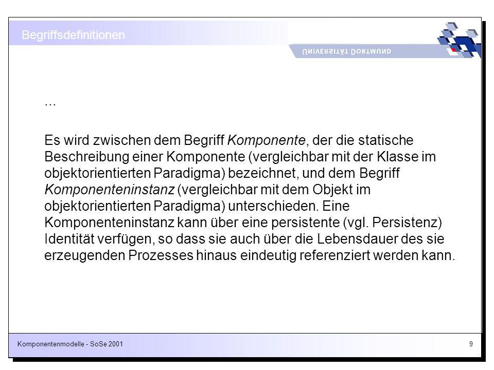 Komponentenmodelle - SoSe 2001140 MIDL-Auszug für die ProjectPlanner-Komponente (2/2) [id(4)] HRESULT get_ProjectAt([in] short index, [out, retval] ITask* *pVal); //...