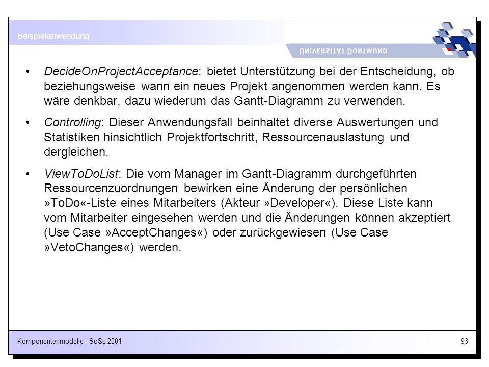 Komponentenmodelle - SoSe 200193 DecideOnProjectAcceptance: bietet Unterstützung bei der Entscheidung, ob beziehungsweise wann ein neues Projekt angen