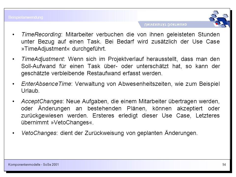 Komponentenmodelle - SoSe 200194 TimeRecording: Mitarbeiter verbuchen die von ihnen geleisteten Stunden unter Bezug auf einen Task. Bei Bedarf wird zu