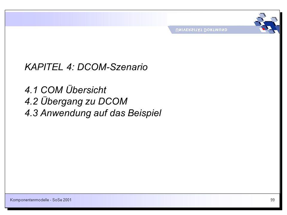 Komponentenmodelle - SoSe 200199 KAPITEL 4: DCOM-Szenario 4.1 COM Übersicht 4.2 Übergang zu DCOM 4.3 Anwendung auf das Beispiel