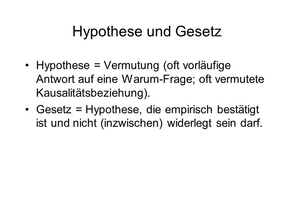 Hypothese und Gesetz Hypothese = Vermutung (oft vorläufige Antwort auf eine Warum-Frage; oft vermutete Kausalitätsbeziehung). Gesetz = Hypothese, die