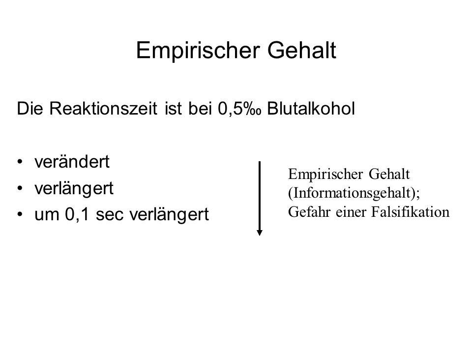 Empirischer Gehalt Die Reaktionszeit ist bei 0,5 Blutalkohol verändert verlängert um 0,1 sec verlängert Empirischer Gehalt (Informationsgehalt); Gefah