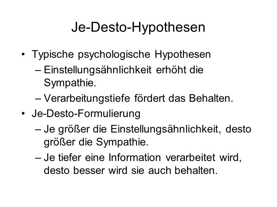 Je-Desto-Hypothesen Typische psychologische Hypothesen –Einstellungsähnlichkeit erhöht die Sympathie. –Verarbeitungstiefe fördert das Behalten. Je-Des