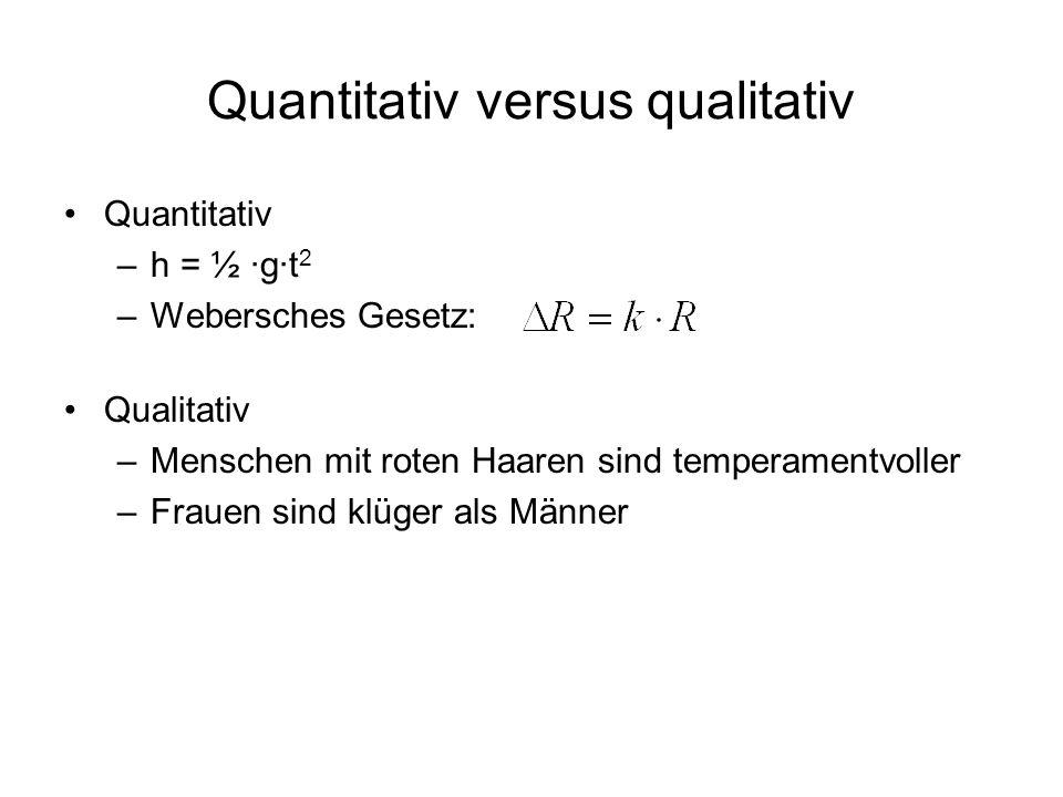 Quantitativ versus qualitativ Quantitativ –h = ½ ·g·t 2 –Webersches Gesetz: Qualitativ –Menschen mit roten Haaren sind temperamentvoller –Frauen sind