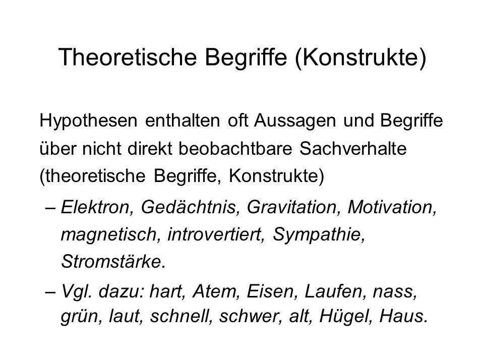 Theoretische Begriffe (Konstrukte) Hypothesen enthalten oft Aussagen und Begriffe über nicht direkt beobachtbare Sachverhalte (theoretische Begriffe,