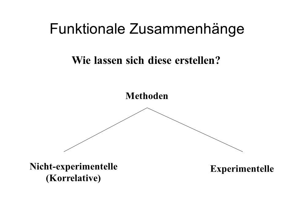 Funktionale Zusammenhänge Wie lassen sich diese erstellen? Methoden Experimentelle Nicht-experimentelle (Korrelative)
