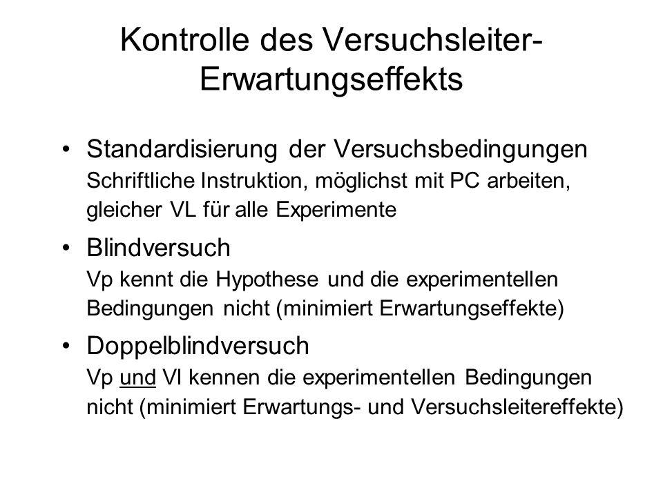 Kontrolle des Versuchsleiter- Erwartungseffekts Standardisierung der Versuchsbedingungen Schriftliche Instruktion, möglichst mit PC arbeiten, gleicher