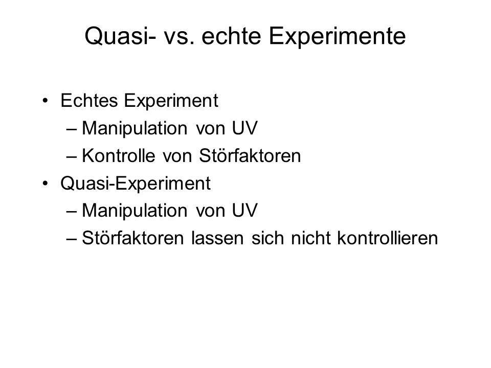 Quasi- vs. echte Experimente Echtes Experiment –Manipulation von UV –Kontrolle von Störfaktoren Quasi-Experiment –Manipulation von UV –Störfaktoren la