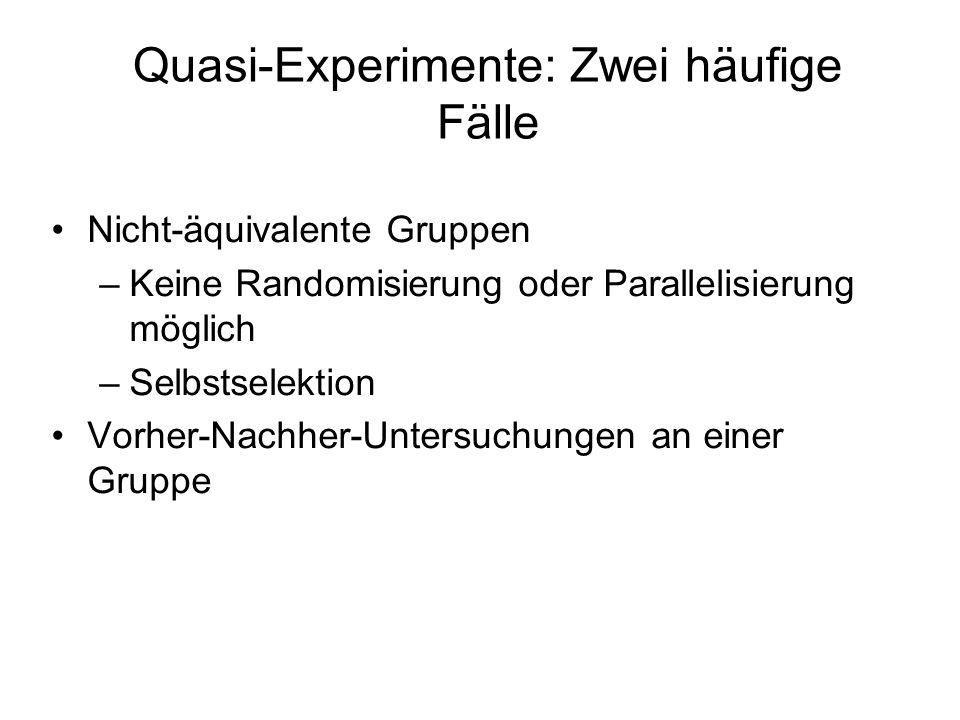Quasi-Experimente: Zwei häufige Fälle Nicht-äquivalente Gruppen –Keine Randomisierung oder Parallelisierung möglich –Selbstselektion Vorher-Nachher-Un