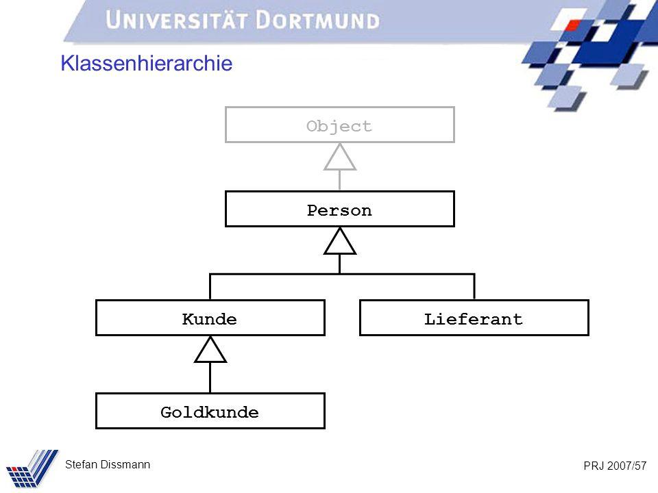 PRJ 2007/57 Stefan Dissmann Klassenhierarchie Person Kunde Goldkunde Lieferant Object