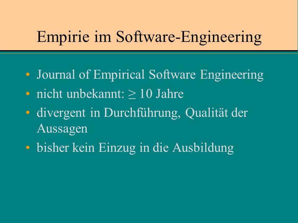 Empirie im Software-Engineering Journal of Empirical Software Engineering nicht unbekannt: 10 Jahre divergent in Durchführung, Qualität der Aussagen bisher kein Einzug in die Ausbildung