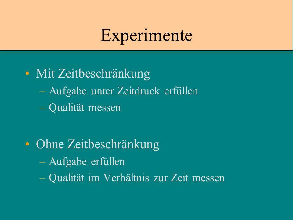 Experimente Mit Zeitbeschränkung –Aufgabe unter Zeitdruck erfüllen –Qualität messen Ohne Zeitbeschränkung –Aufgabe erfüllen –Qualität im Verhältnis zur Zeit messen