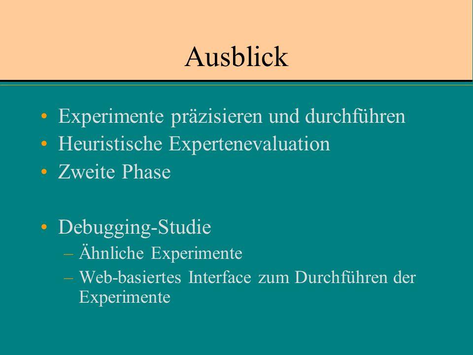 Ausblick Experimente präzisieren und durchführen Heuristische Expertenevaluation Zweite Phase Debugging-Studie –Ähnliche Experimente –Web-basiertes Interface zum Durchführen der Experimente