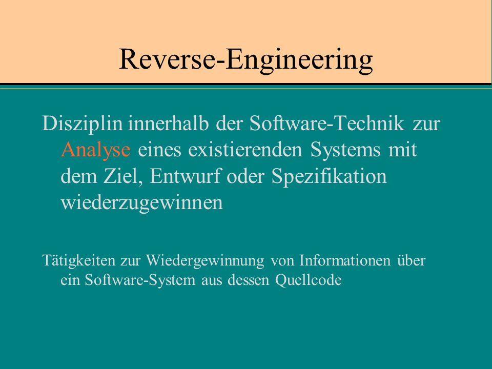 Reverse-Engineering Disziplin innerhalb der Software-Technik zur Analyse eines existierenden Systems mit dem Ziel, Entwurf oder Spezifikation wiederzugewinnen Tätigkeiten zur Wiedergewinnung von Informationen über ein Software-System aus dessen Quellcode