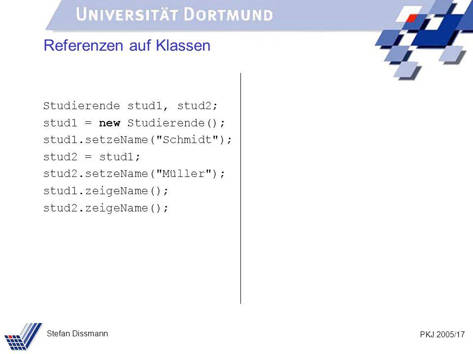 PKJ 2005/17 Stefan Dissmann Referenzen auf Klassen Studierende stud1, stud2; stud1 = new Studierende(); stud1.setzeName( Schmidt ); stud2 = stud1; stud2.setzeName( Müller ); stud1.zeigeName(); stud2.zeigeName();