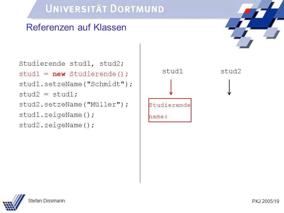 PKJ 2005/19 Stefan Dissmann Referenzen auf Klassen Studierende stud1, stud2; stud1 = new Studierende(); stud1.setzeName( Schmidt ); stud2 = stud1; stud2.setzeName( Müller ); stud1.zeigeName(); stud2.zeigeName(); stud1stud2 Studierende name: