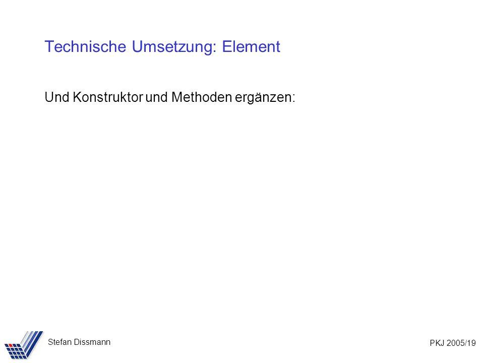 PKJ 2005/19 Stefan Dissmann Technische Umsetzung: Element Und Konstruktor und Methoden ergänzen: