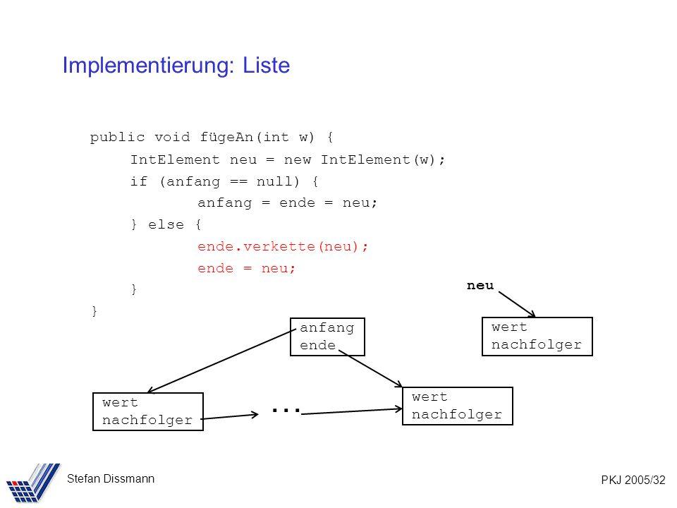 PKJ 2005/32 Stefan Dissmann Implementierung: Liste public void fügeAn(int w) { IntElement neu = new IntElement(w); if (anfang == null) { anfang = ende = neu; } else { ende.verkette(neu); ende = neu; } wert nachfolger wert nachfolger anfang ende wert nachfolger neu …