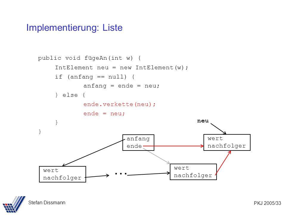 PKJ 2005/33 Stefan Dissmann Implementierung: Liste public void fügeAn(int w) { IntElement neu = new IntElement(w); if (anfang == null) { anfang = ende = neu; } else { ende.verkette(neu); ende = neu; } wert nachfolger wert nachfolger anfang ende wert nachfolger neu …