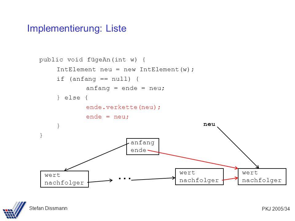 PKJ 2005/34 Stefan Dissmann Implementierung: Liste public void fügeAn(int w) { IntElement neu = new IntElement(w); if (anfang == null) { anfang = ende = neu; } else { ende.verkette(neu); ende = neu; } wert nachfolger wert nachfolger anfang ende wert nachfolger neu …
