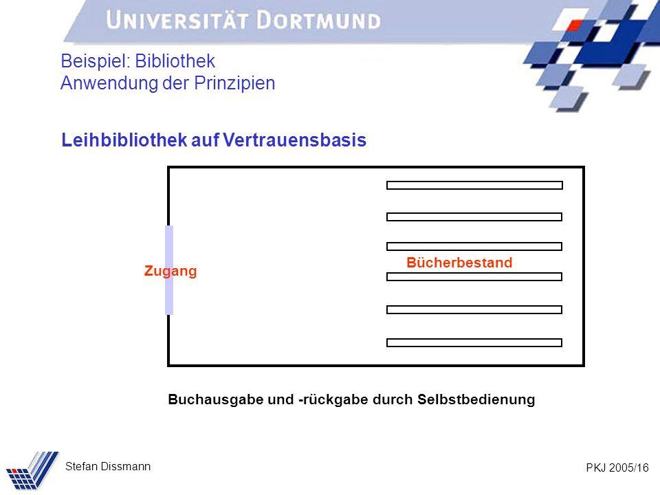 PKJ 2005/16 Stefan Dissmann Beispiel: Bibliothek Anwendung der Prinzipien Leihbibliothek auf Vertrauensbasis Bücherbestand Zugang Buchausgabe und -rückgabe durch Selbstbedienung